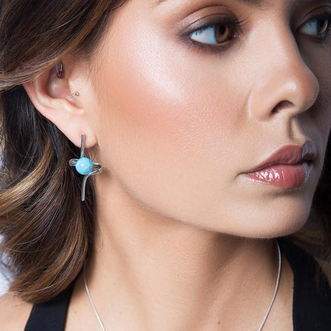 Larimar Earrings - Dazzling Loop Way