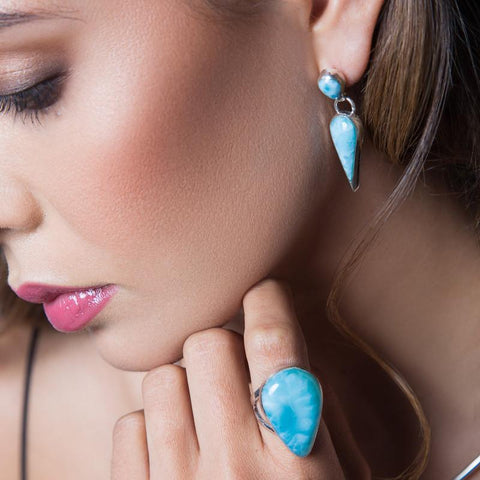 Larimar Earrings - Stud Teardrops
