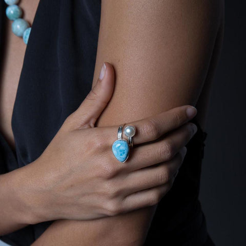 Larimar Ring - Bypass With Pearl
