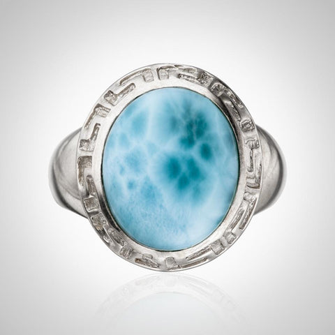 Larimar Ring - Embossed Details