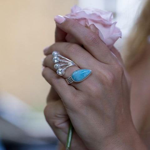 Larimar Ring - Fancy Bypass Design