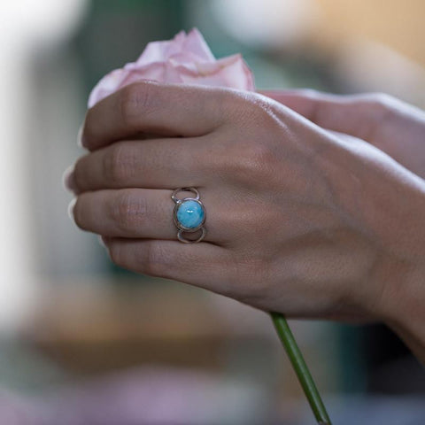 Larimar Ring - Heart Cut-Out