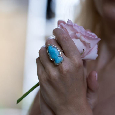 Larimar Ring - Organic Form