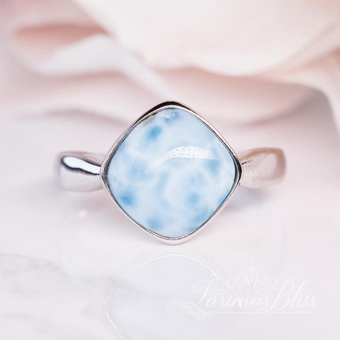 Larimar Squared Ocean Waves Necklace