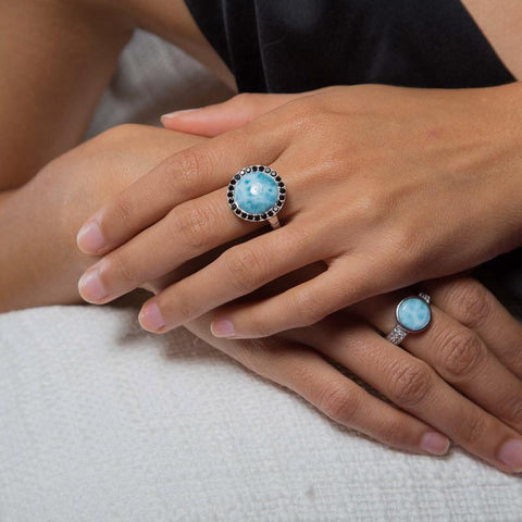 LAURA BONETTI Canoa Collection - Larimar Ring With Black Stones