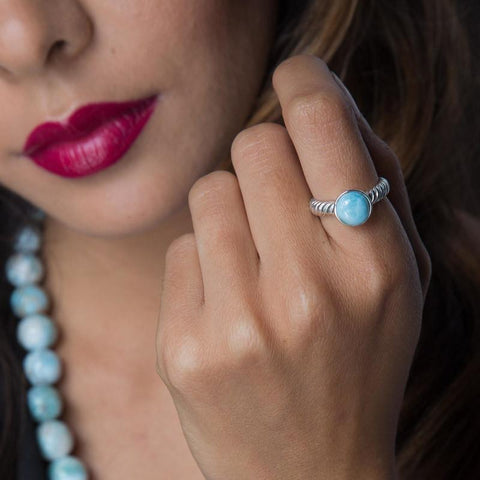 Larimar Ring - Petit and Embossed