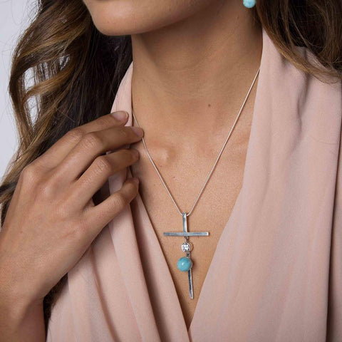 Larimar Pendant - Embellished Cross