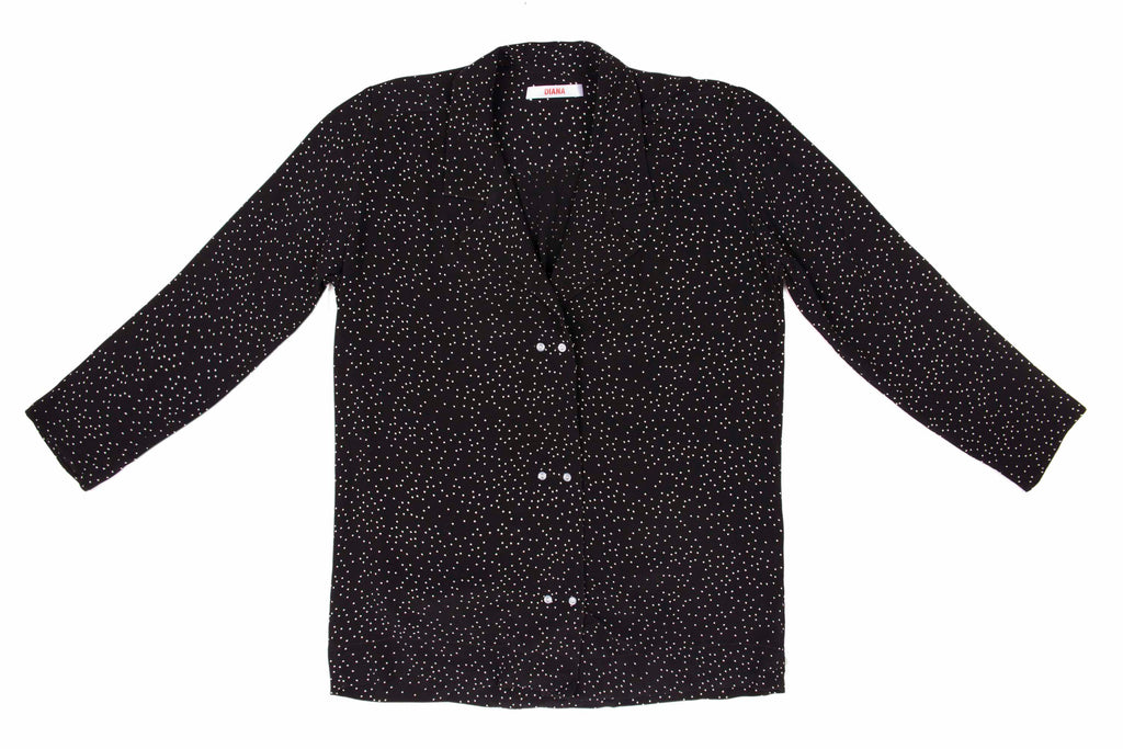 DOT CREPE NOTCH LAPEL SHIRT