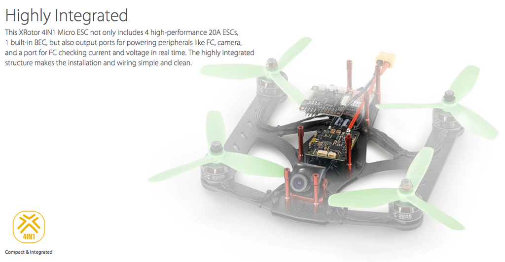 Hobbywing XRotor 20A Micro 4-in-1 ESC (2S-4S)