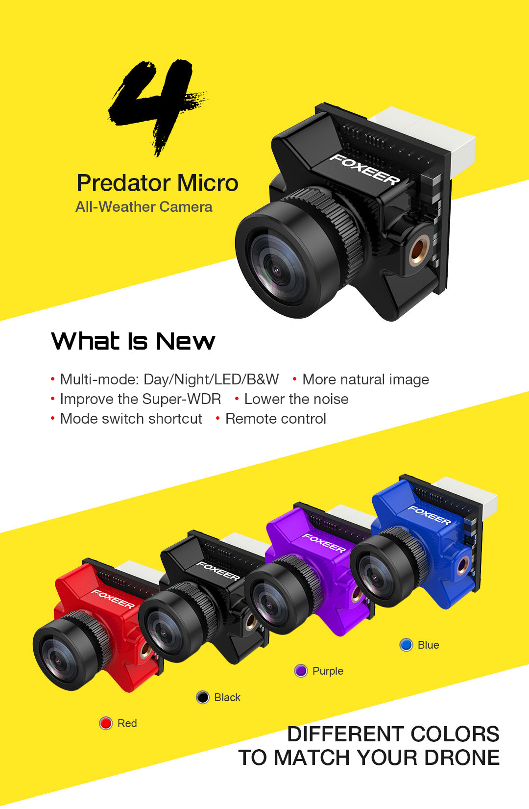 Foxeer Micro Predator 4 Super WDR 4ms latency FPV Racing Camera SKU: HS1225