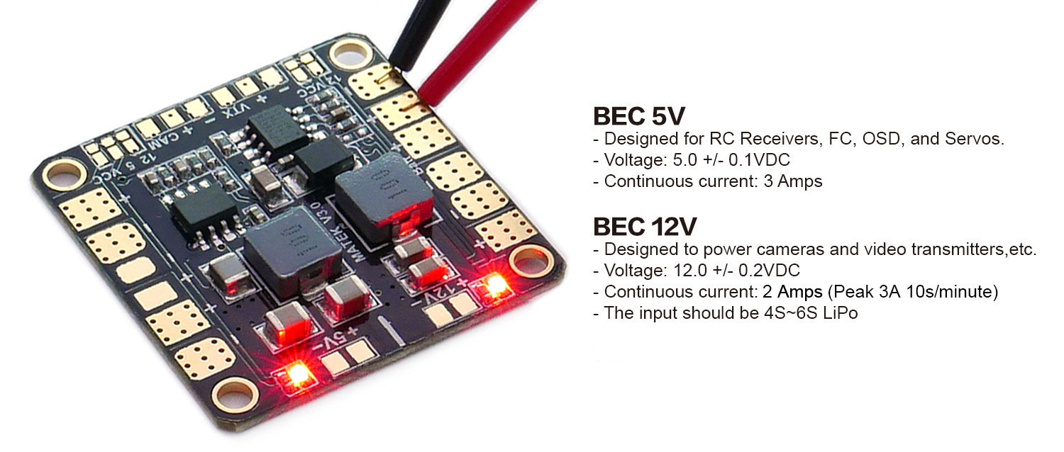 Matek Mini Power Hub w/ 5V/12A BEC Power Distribution Board PDB for FPV