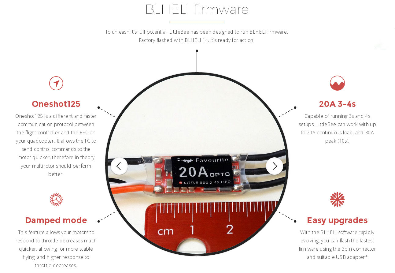 FVT LittleBee 20A 2-4S ESC OPTO for Multirotor (support OneShot125)