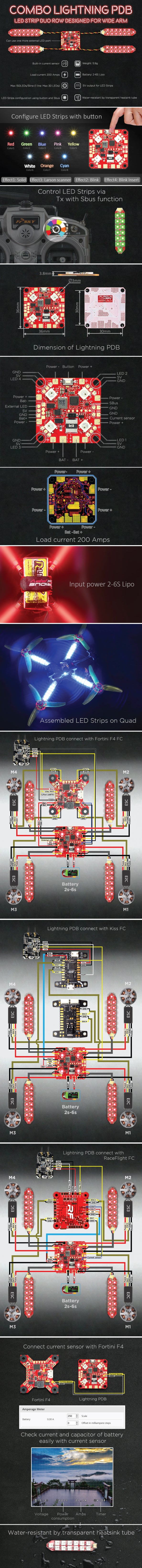 FuriousFPV Lightning PDB with Duo Row LED Strip