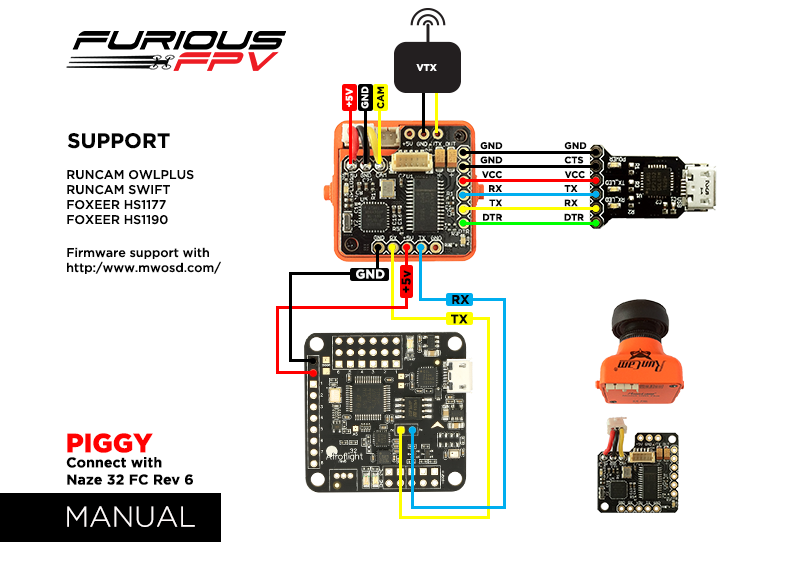 Furious Fpv Piggy Osd Board For Runcam  Foxeer  Hs1177