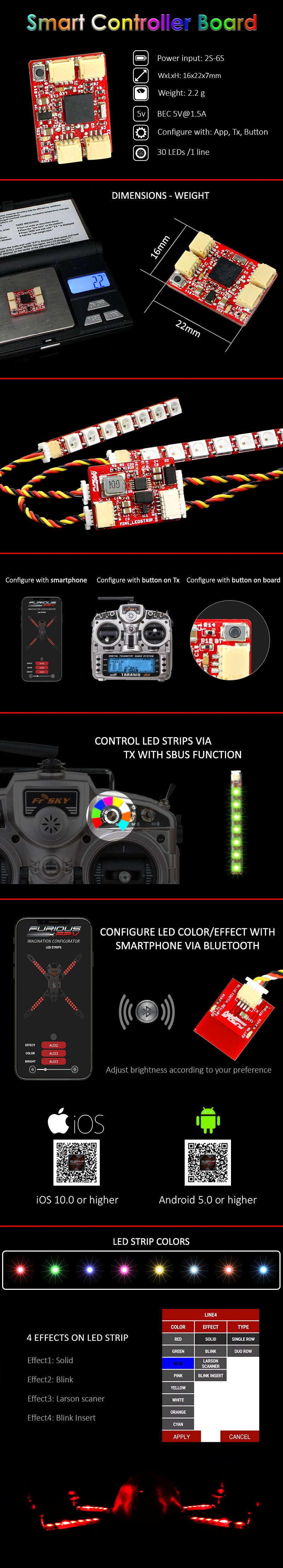 FuriousFPV LED Strip Smart Controller Board with Bluetooth Module (FPV-LSCB-BT)