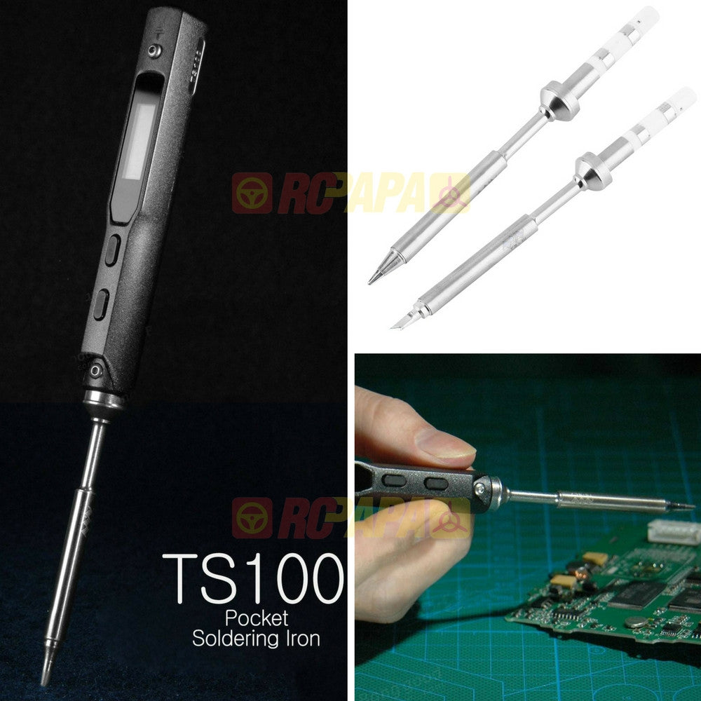 TS100 40W Digital OLED Soldering Iron Station (2 Solder Tips TS-B2 TS-KU) - RC Papa