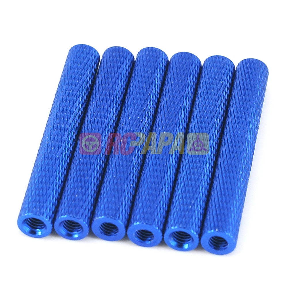 M3x35mm Round Aluminium Knurled Standoffs Spacer v2 Blue (6pc) - RC Papa