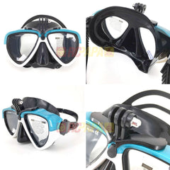 Half Face Snorkeling Mask for Surface Scuba Diving with GoPro Mount (White/Blue) - RC Papa