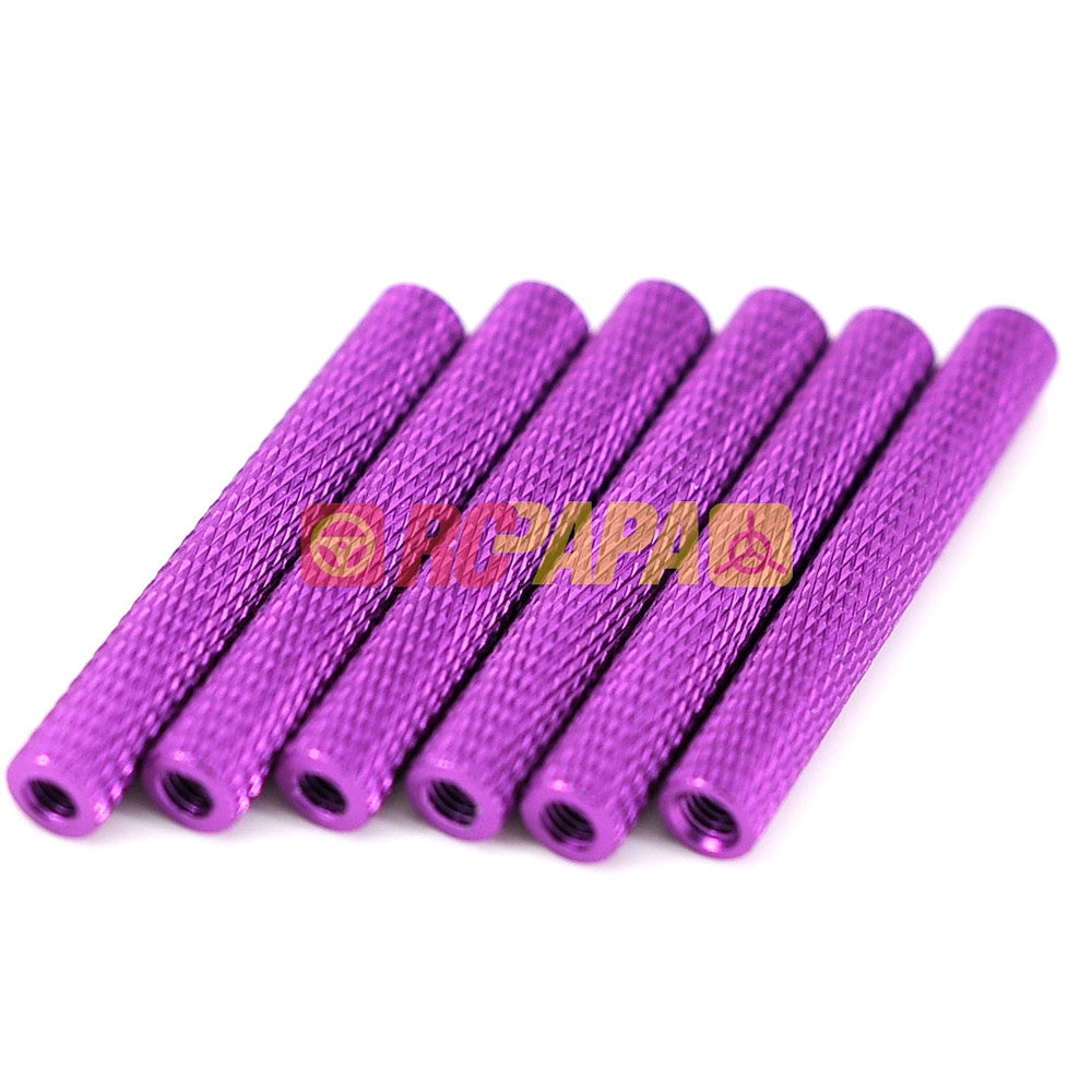 M3x35mm Round Aluminium Knurled Standoffs Spacer v2 Purple (6pc) - RC Papa