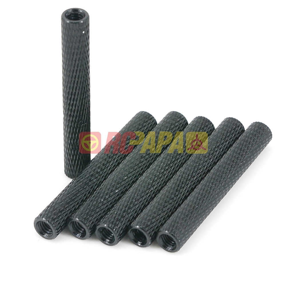 M3x35mm Round Aluminium Knurled Standoffs Spacer v2 Black (6pc) - RC Papa
