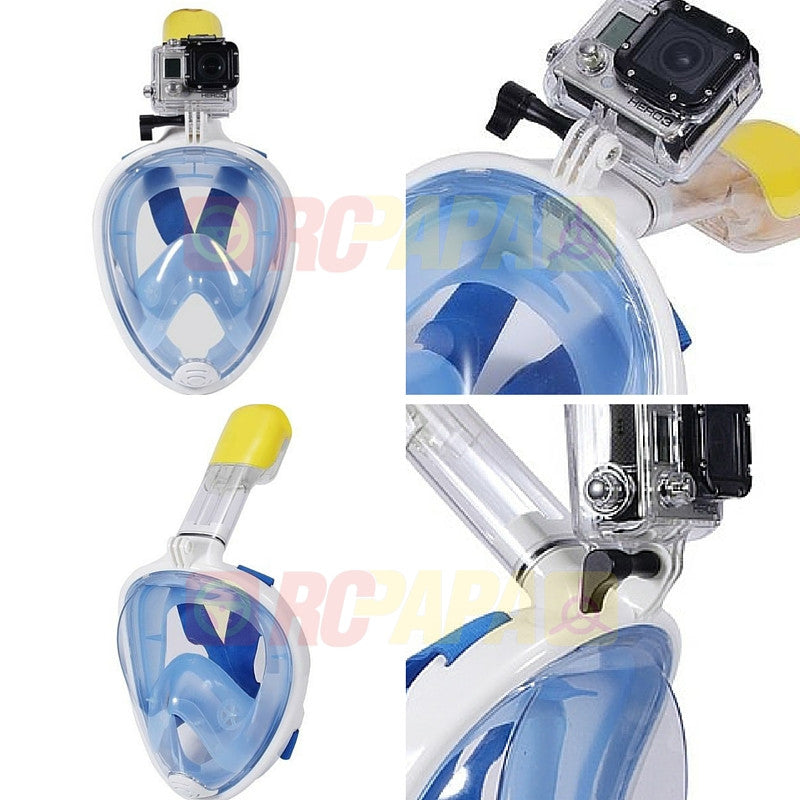 Snorkeling Full Face Mask with GoPro Mount Blue for Surface Diving Snorkel Scuba - RC Papa