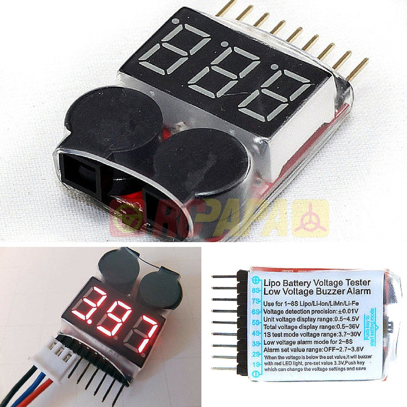 AOK Lipo Battery Voltage Tester Low Voltage Alarm 1S-8S - RC Papa