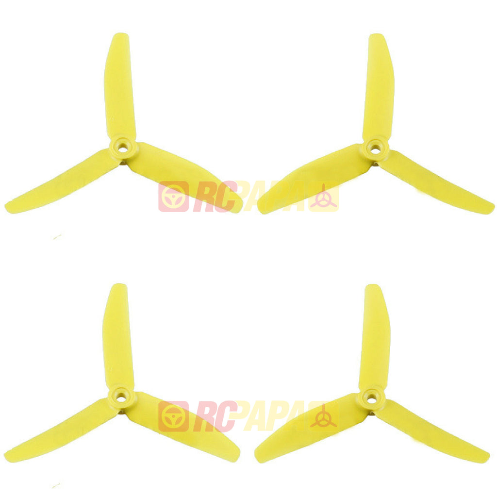 "HQ 5"" 5x4x3 Tri-Blade Glass Fiber Propellers (Rotor Riot Yellow) - RC Papa"