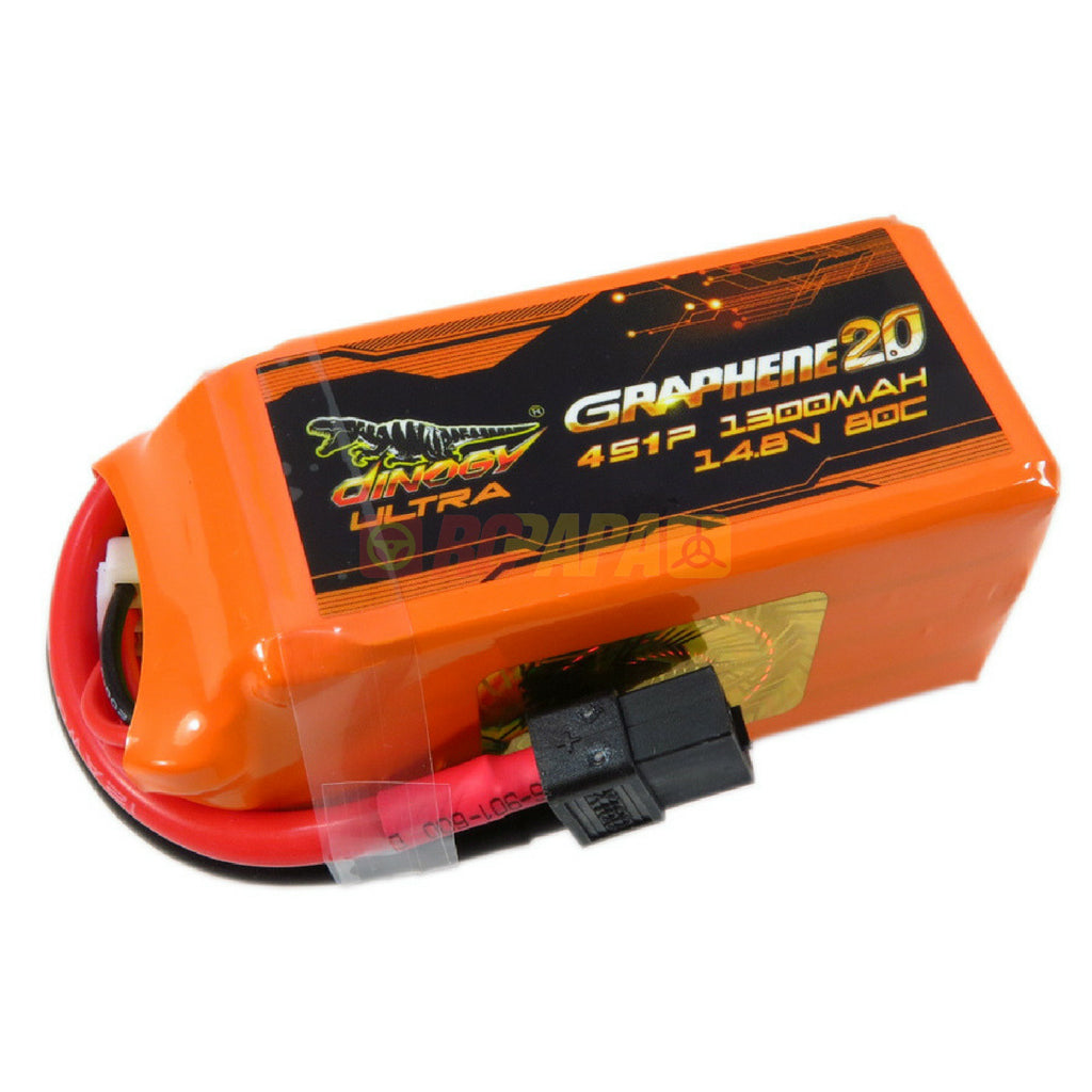 Dinogy Ultra Graphene 2.0 14.8v 4s 1300mah 80c Lipo Battery