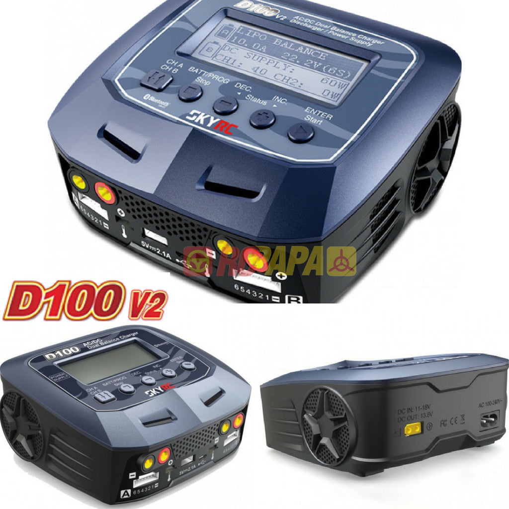 SkyRC D100 V2 Dual Balance Charger / Discharger / Power Supply - RC Papa