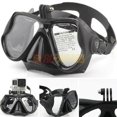 Half Face Snorkeling Mask for Surface Scuba Diving with GoPro Mount (Black) - RC Papa - 1