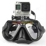 Half Face Snorkeling Mask for Surface Scuba Diving with GoPro Mount (Black) - RC Papa
