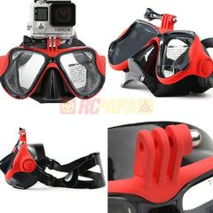 Half Face Snorkeling Mask for Surface Scuba Diving with GoPro Mount (Red) - RC Papa - 1