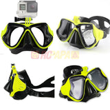 Half Face Snorkeling Mask for Surface Scuba Diving with GoPro Mount (Yellow) - RC Papa - 1