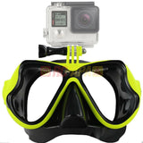 Half Face Snorkeling Mask for Surface Scuba Diving with GoPro Mount (Yellow) - RC Papa