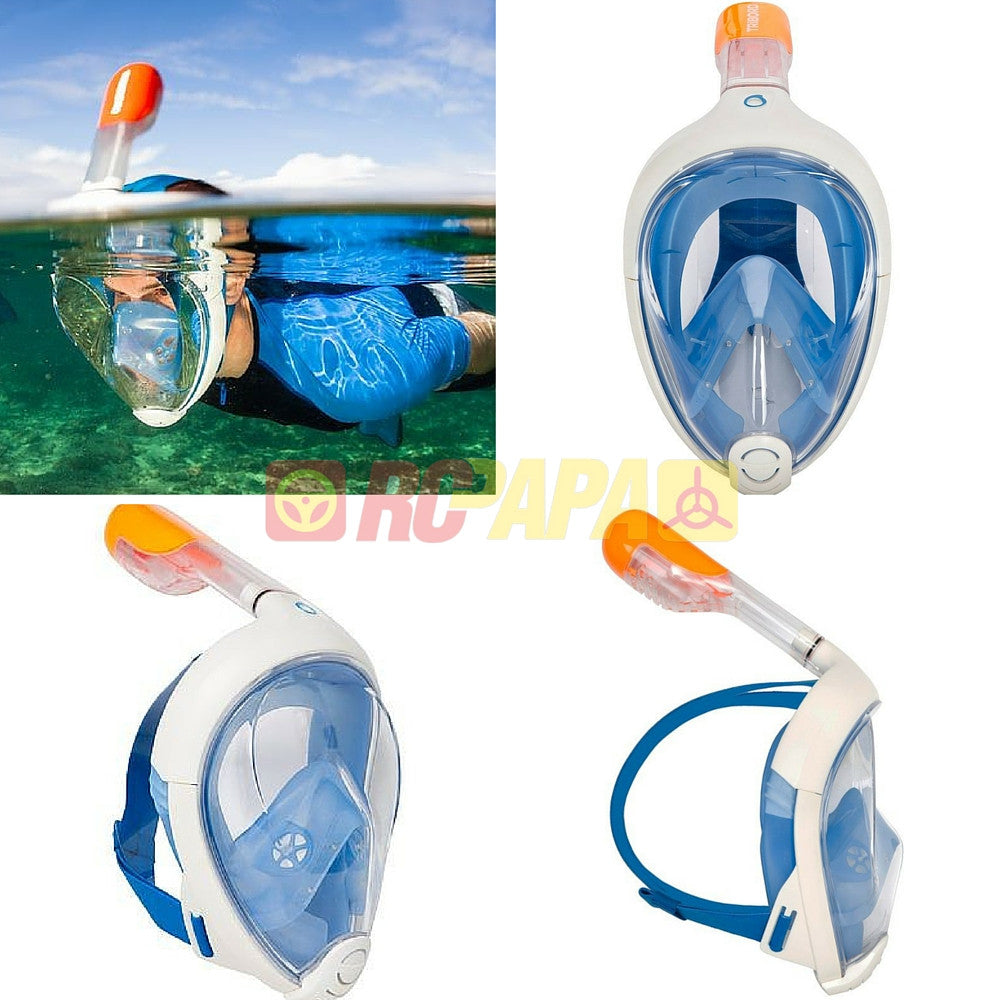 Tribord Easybreath Snorkeling Full Face Mask for Surface Scuba Diving Snorkel Blue - RC Papa