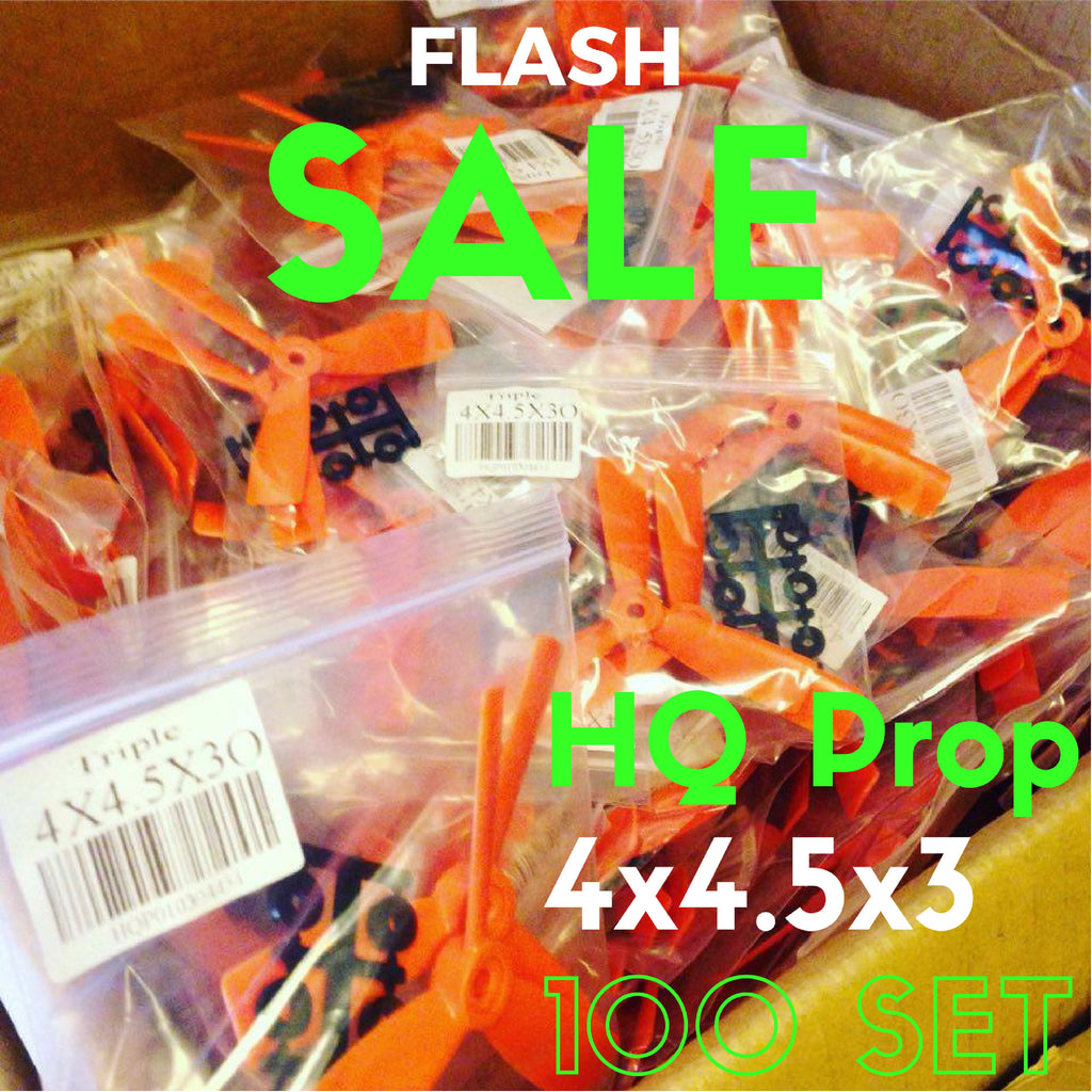 100 Set HQ 4x4.5x3 Propellers (Orange/Green/Black) - RC Papa