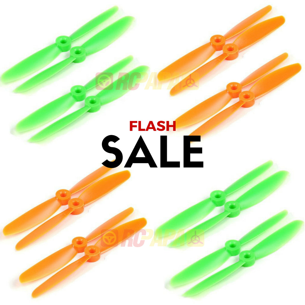 10 Set Gemfan 5045 ABS Propellers (Green/Orange) - RC Papa