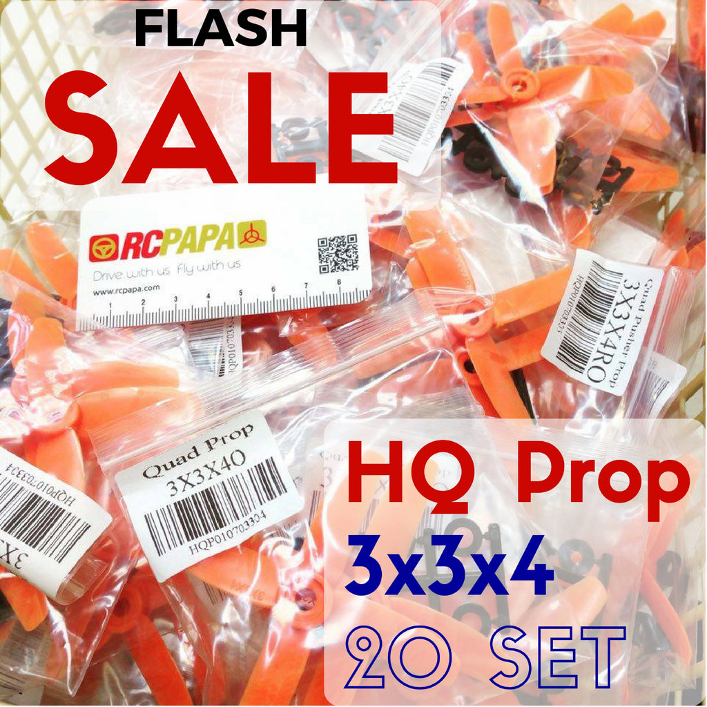 20 Set HQ 3x3x4 Propellers (Orange) - RC Papa