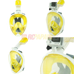 Snorkeling Full Face Mask with GoPro Mount Yellow for Surface Diving Snorkel Scuba - RC Papa