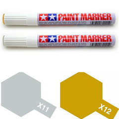 Tamiya Paint Marker Chrome Silver Gold X11 X12 89011 89012 Combo - RC Papa