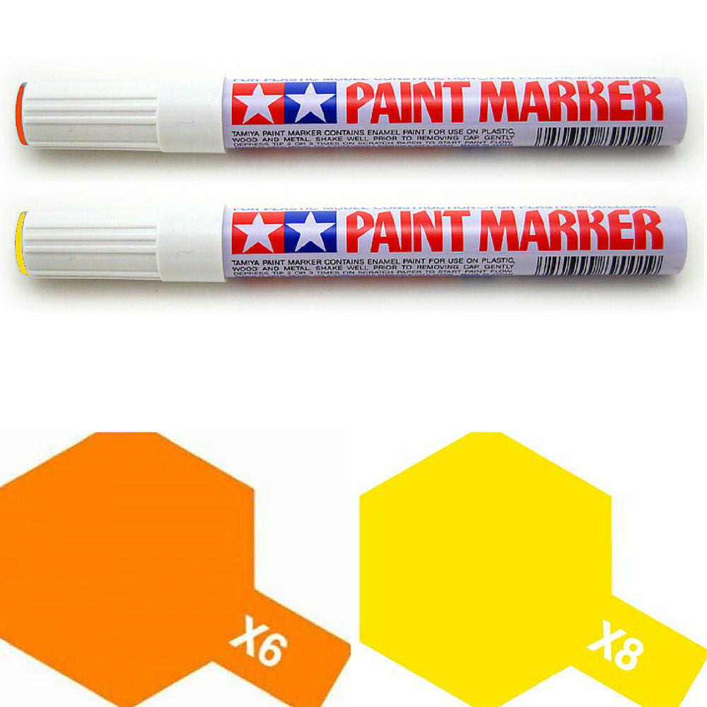 Tamiya Paint Marker Orange Yellow X6 X8 89006 89008 Combo - RC Papa