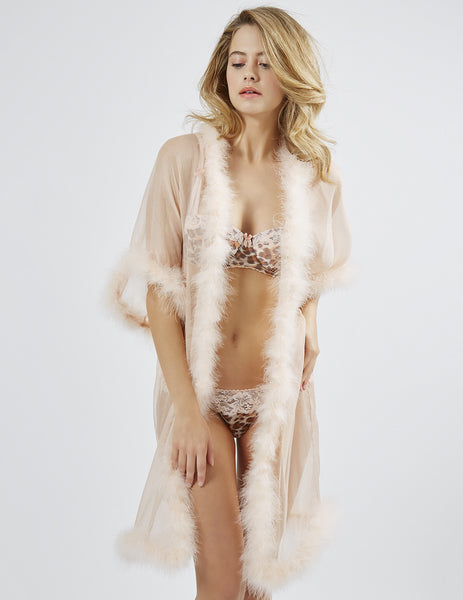 Bisou Zoo Long Maribou Gown | Mimi Holliday Luxury Lingerie