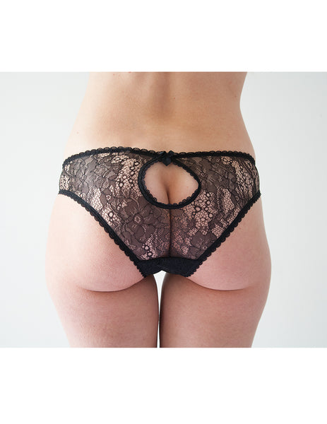 Knickerworld | Black Lace Peep Knickers