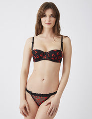 Cherry Drop Black Hipster Thong | Mimi Holliday Luxury Lingerie