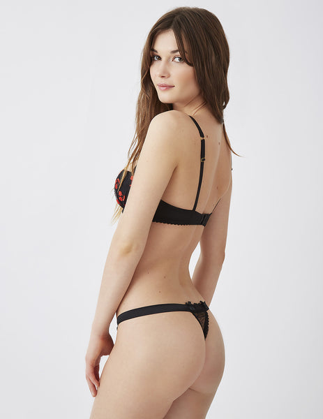 Cherry Drop Black Hipster Thong | Mimi Holliday Sexy Lingerie