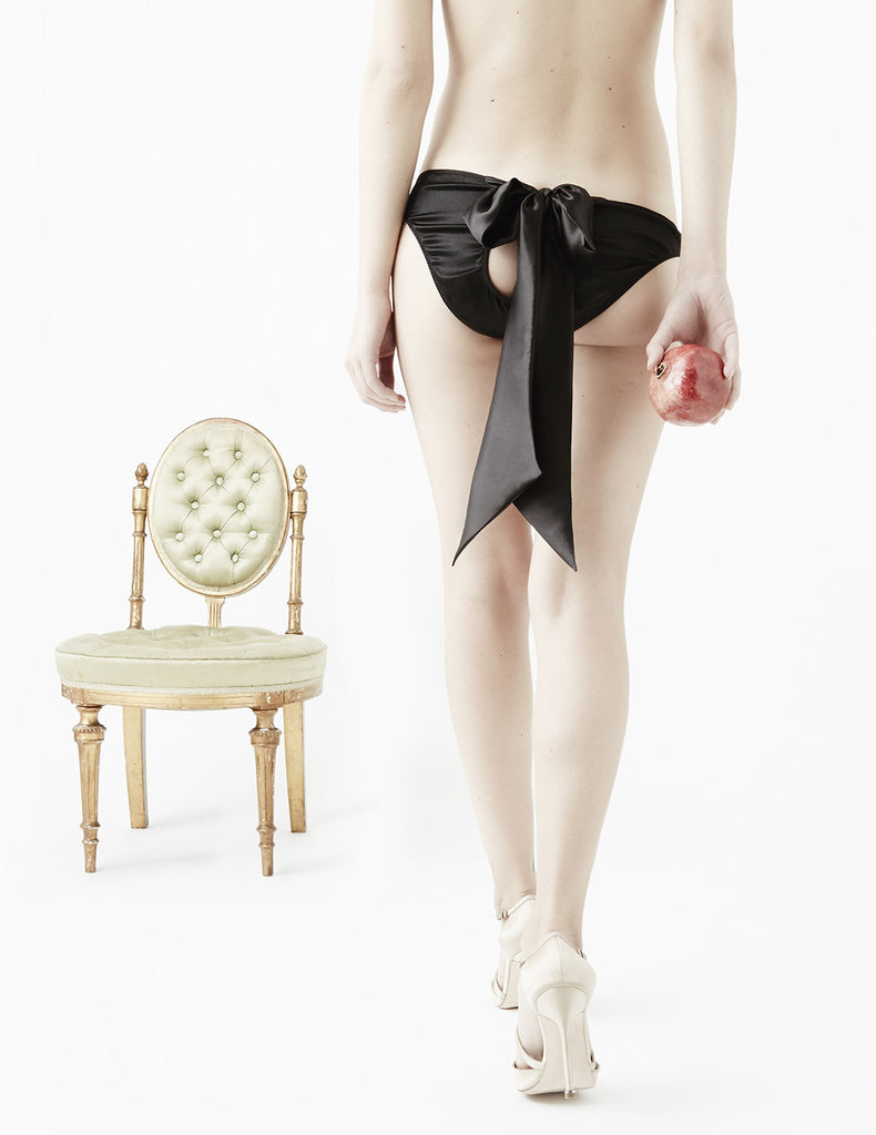 Ink Black Silk Bow Knickers | Damaris Sexy Lingerie
