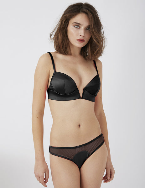 Amaranth Black Silk V Bra | Damaris Luxe Lingerie