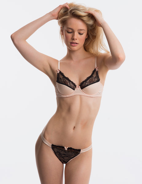 Pink Black Lace Padded Push-Up BH | Mimi Holliday Designer Undertøy