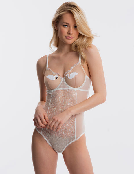 White Lace Swan Body | Mimi Holliday Designer Lingerie
