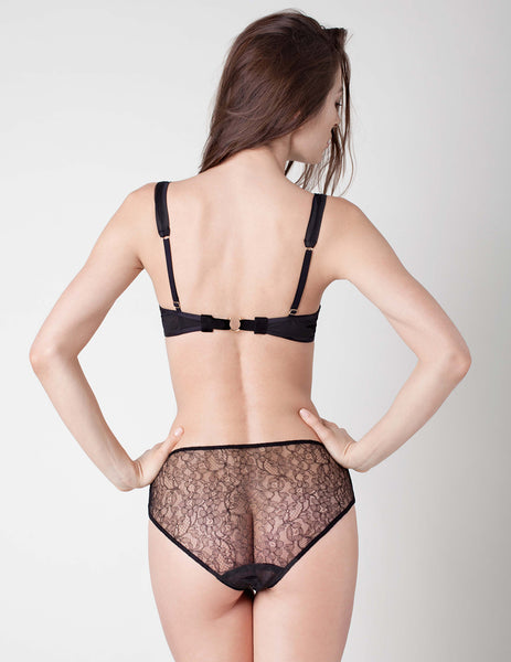 Damaris Panther Black Lace High Waisted Knicker